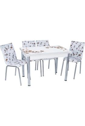 Aras Kahve Çiçek Açılır Camlı Masa Takımı (4 Sandalye)