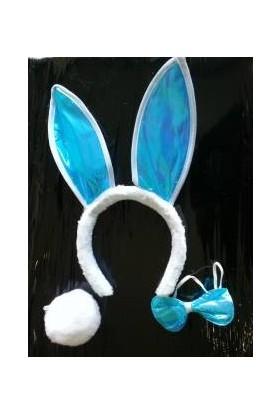 Can Tavşan Kulağı Seti - Taç Papyon Kuyruk Mavi Renk