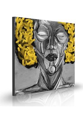 Purupa Sarı Saçlı Kadın Kanvas Duvar Pano Tablo