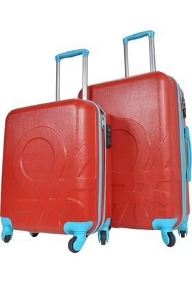 Benetton 2'Lü Orta Ve Kabin Boy Kırmızı Set Sert Valiz Seti 0159