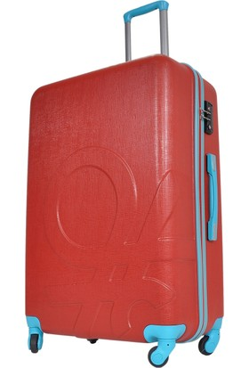 Benetton Büyük Boy Kırmızı Sert Valiz 0159