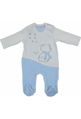 Premom 1016A Yıldıza Bakan Ayıcık Erkek Bebek Patikli Tulum