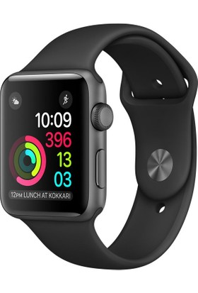 Apple Watch Seri 2 38mm Uzay Grisi Alüminyum Kasa ve Siyah Spor Kordon - MP0D2TU/A