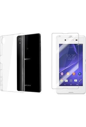 Blueway Sony Xperia Z5 Ekran Koruyucu + Şeffaf Silikon Kılıf