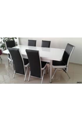 Teknoset Mutfak Masa Takımı Sm24Siyah-Beyaz