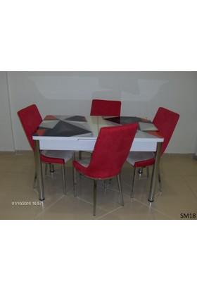 Teknoset Mutfak Masa Takımı Sm18Kırmızı-Siyah