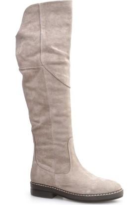 Cabani Knee High Boots Günlük Kadın Çizme Vizon Süet