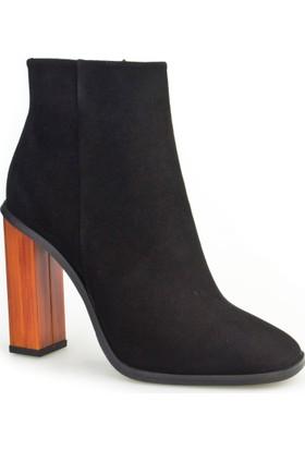 Cabani Yüksek Topuk Günlük Kadın Bot Siyah Süet