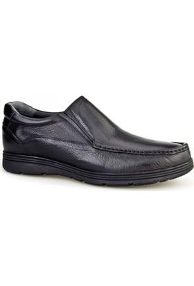 Cabani Lastikli Günlük Erkek Ayakkabı Siyah Kırma Deri