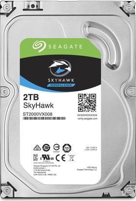 """Seagate Skyhawk 3.5"""" 2TB Sata 3.0 64MB 180Mb/s 5900Rpm 64HD Kamera 180TB/Yil Isyükü 7/24 Güvenlik Diski ST2000VX008"""