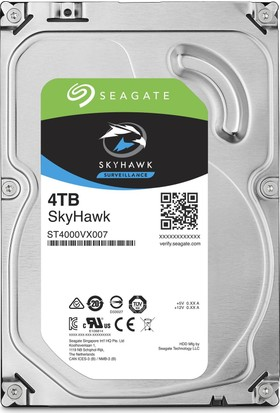 """Seagate Skyhawk 3.5"""" 4TB Sata 3.0 64MB 190Mb/s RV Sensör 5900Rpm 64HD Kamera 180TB/Yil Isyükü 7/24 Güvenlik Disk ST4000VX007"""