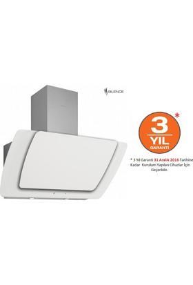 Silverline 3373 Misto Beyaz 90 Cm Dekoratif Camlı Duvar Tipi Davlumbazipi Davlumbaz, 90 Cm Beyaz