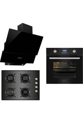 Ferre Italiano Black 3'lü Ankastre Set (BE 6 LD Mutifonksiyon Fırın + 1140 CE New Döküm Izgara Cam Ocak + FME 600 Yatay Dekoratif Cam Davlumbaz)