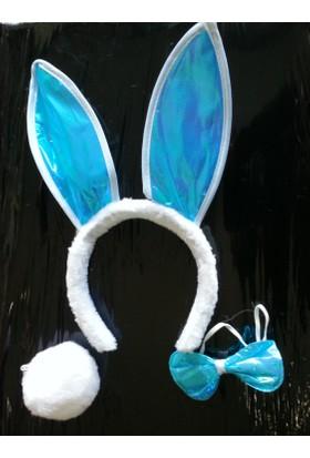 Cansus tavşan Kulağı Seti Taç Papyon Kuyruk Mavi