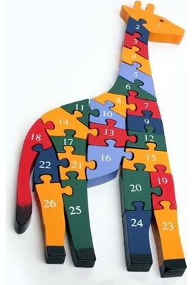 Kayıkcı ahşap Eğitici Oyuncak - Zürafa Puzzle 26 Parça