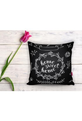 RealHomes Home Sweet Home Dijital Baskılı Dekoratif Yastık Kırlent Kılıfı