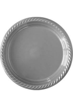 KullanAtMarket Gümüş Plastik Tabak 22 cm -10 Adet