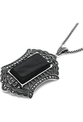 Tesbihci Dede Gümüş Zincir Hediyeli Markazit Oltu Taşı Gümüş Kolye