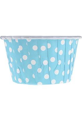 KullanAtMarket Açık Mavi Puantiyeli Muffin Kek Kapsülü 50li - 50 Adet
