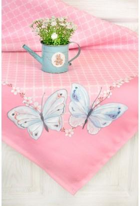 The Mia Butterfly Masa Örtüsü - Pembe 140x140 cm