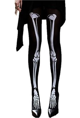 Hkostüm Cadılar Bayramı İskelet Desenli Yetişkin Dizüstü Çorap