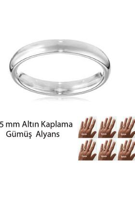 eJOYA Beyaz Altın Kaplama Gümüş Alyans 5 mm