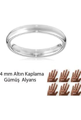 eJOYA Beyaz Altın Kaplama Gümüş Alyans 4 mm