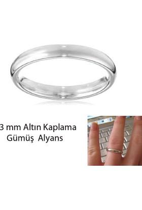 eJOYA Beyaz Altın Kaplama Gümüş Alyans 3 mm