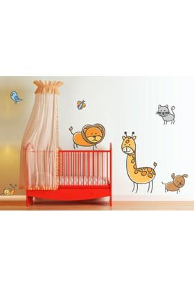 Sevimli Hayvanlar Alemi SHA01 Duvar Sticker 62 x 40 cm