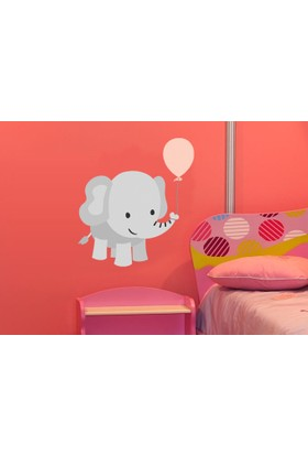Pembe Balon ve Fil Duvar Sticker 54 x 60 cm