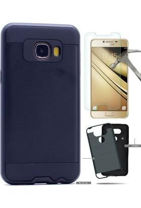 Teleplus Samsung Galaxy C5 Çift Katmanlı Kapak Kılıf + Cam Ekran Koruyucu