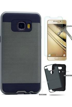 Teleplus Samsung Galaxy C7 Çift Katmanlı Kapak Kılıf + Cam Ekran Koruyucu
