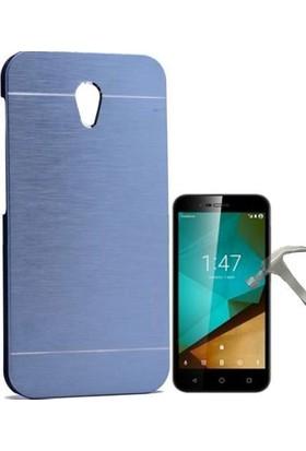 Teleplus Vodafone Smart Style 7 Tam Korumalı Metal Kapak Kılıf + Cam Ekran Koruyucu