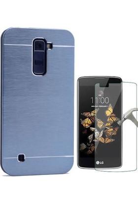 Teleplus LG K10 Tam Korumalı Metal Kapak Kılıf + Cam Ekran Koruyucu