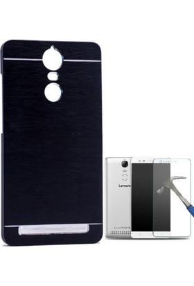 Teleplus Lenovo K5 Note Tam Korumalı Metal Kapak Kılıf + Cam Ekran Koruyucu
