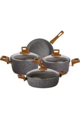 Karaca 7 Parça Silver Stone Bio Granit Döküm Set
