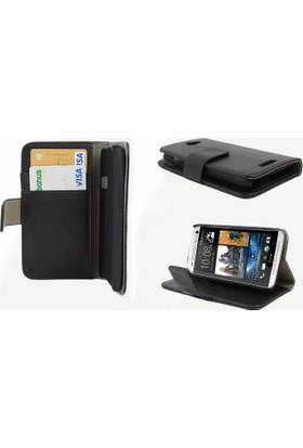 CaseUp Cüzdanlı Standlı Deri Kılıf HTC One M7 Cam
