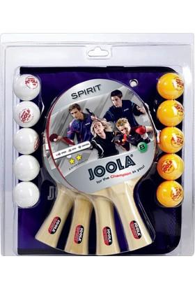 Joola Family Spirit Masa Tenisi Raket Seti 4 Raket + 5 Sarı Top+ 5 Beyaz Top
