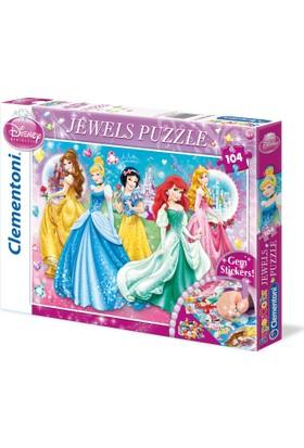 Clementoni 104 Parça Taş Yapıştırmalı Puzzle - Prensesler Jewels Puzzle