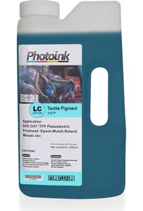 Photo Ink Epson Piezzo Kafalar İçin 1000 Ml Açık Mavi Light Cyan Tekstil Mürekkep (T-Etp)