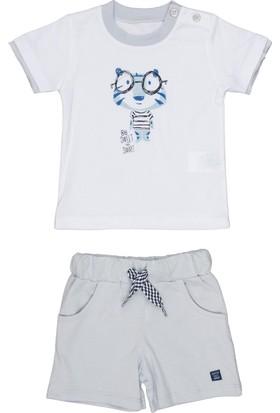 Bebepan Sweet Şort Tshirt Tk Beyaz/Açık Mavi 6-9 Ay