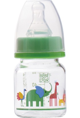 Bebedor Desenli Emzikli Mini Cam Biberon Özel Amaçlı 0-6 Ay 60 Ml. Yeşil