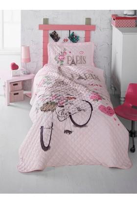Clasy Paris Love Yatak Örtüsü Tek Kişilik Pembe