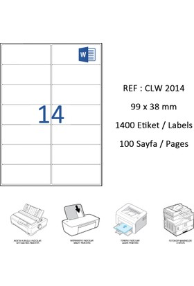 Crea Label Clw-2014 99.1 X 38.1 Mm Lazer Etiket