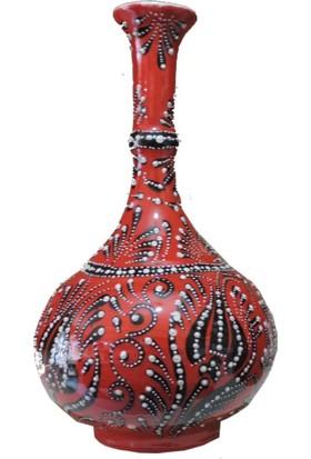 Oğuz Çini 30Cm Kırmızı Vazo