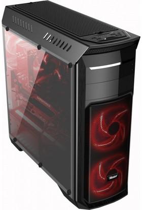 PowerBoost Deluxe Serisi VK-G1010B 1xUSB 3.0, 2xUSB 2.0, 3x12cm Kırmızı Led Fanlı, Şeffaf Yan Panelli ATX Kasa JBST-VKG1010B