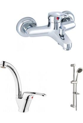 Erce Mix Kuğu Lavabo Ve Banyo Bataryası + Sürgülü Duş Takımı
