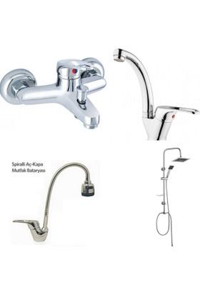 Erce Mix Spiralli Evye + Banyo + Kuğu Lavabo Bataryası Ve Robot Duş Takımı