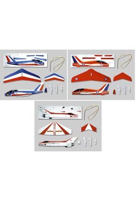 Combo 3 lü Set Serbest Model Uçak Alpha Jet+Red Arrows+F7EB