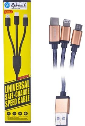 Ally iPhone Lıghtning Micro Usb Ve Type C Usb Çelik Usb Kablo